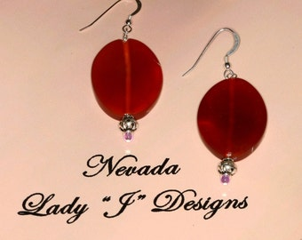 Large Dangle Earrings Volcano Red Agate Oval Rust Handmade