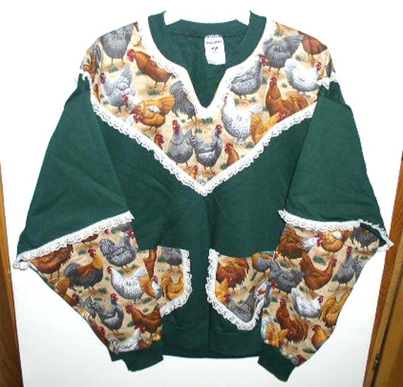 Dark Green Rooster Print Sweatshirt with Lace  Womans Large V-Neck Pockets Handmade