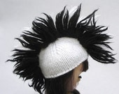 Mini Mohawk for Blythe - Two Tone in Black and White