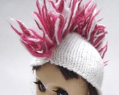 White with Pink Mini Mohawk for Blythe