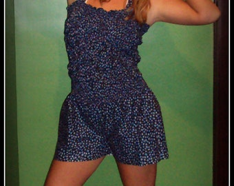 Pin Up Playsuit , Tiny Blue Flower print  , Romper , sunsuit , jumpsuit