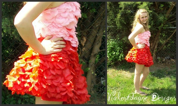 Rose Petal Party Dress - Ombre Red & Pink