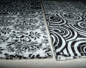 Set of 4 Black and White Quilted Coasters