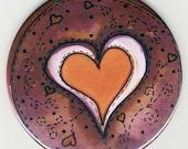 Deep Red Heart - 3 1\/2 in pocket mirror