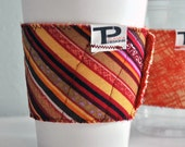 Quilted Reversible Reusable Cup Cozy in Orange Stripe