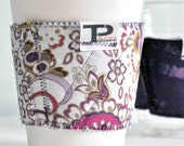 Quilted Reversible Reusable Coffee Cup Cozy in Flower Patch and Eggplant Party