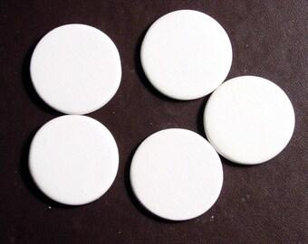 """Approx. 1 1/8"""" Circles - 5 Blank Ceramic Circle Pendants - no holes"""