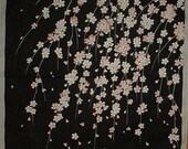 Cherry Blossom Furoshiki Fabric 'Weeping Cherry Tree' Asian Wall Art Black Cotton Japanese Fabric Square 50cm w/Free Insured Shipping