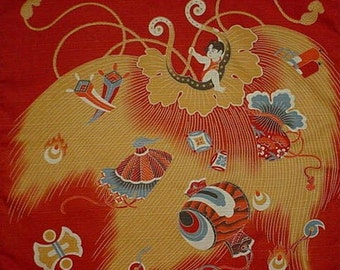 Small Size Cotton 'Momotaro' Furoshiki Japanese Fabric w/Free Shipping