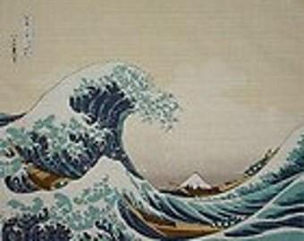Japanese Wave Fabric Furoshiki Hokusai's 'The Great Wave' Cotton Japanese Fabric Hokusai Tapestry 48cm w/Free Insured Shipping