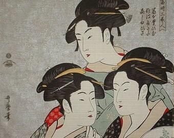Asian Fabric Japanese Cotton Furoshiki Utamaro's Three Beauties Geisha Fabric 48cm w/Free Insured Shipping