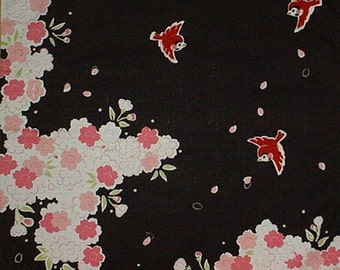 Furoshiki 'Sparrows and Cherry Blossoms' Black Cotton Japanese Fabric 50cm w/Free Insured Shipping