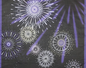 Furoshiki 'Hanabi' Fireworks Cotton Japanese Fabric w/Free Insured Shipping