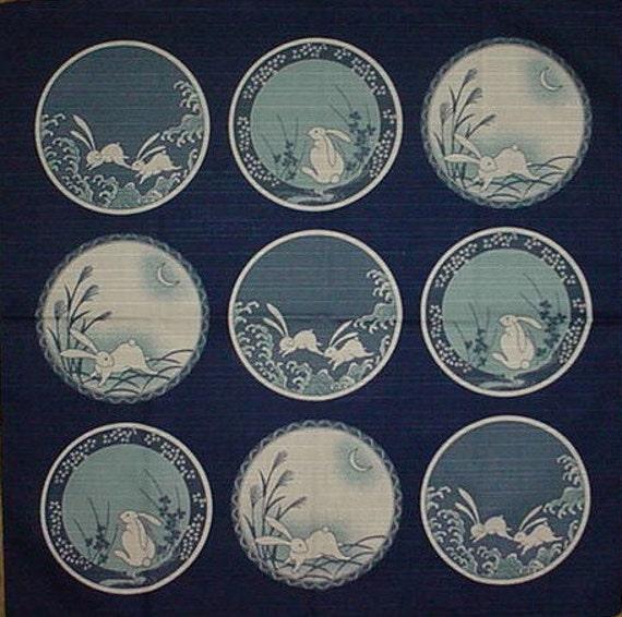 Small Size Cotton 'Rabbits on Blue Plates' Furoshiki Japanese Fabric w/Free Insured Shipping