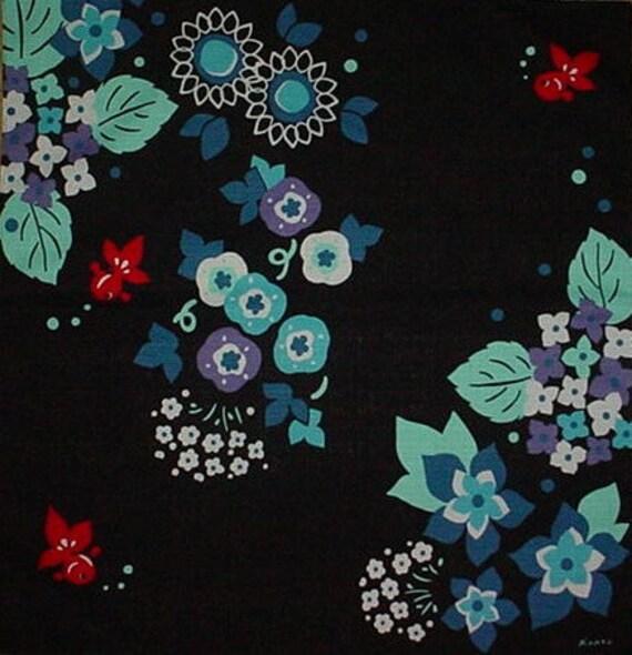 Small Size Cotton 'Goldfish and Hydrangea' Furoshiki Japanese Fabric w/Free Insured Shipping