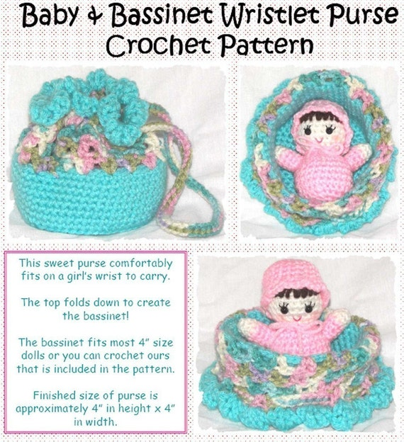 Crochet Wristlet Purse Pattern : Baby and Bassinet Wristlet Purse Crochet by erinoliviadesigns