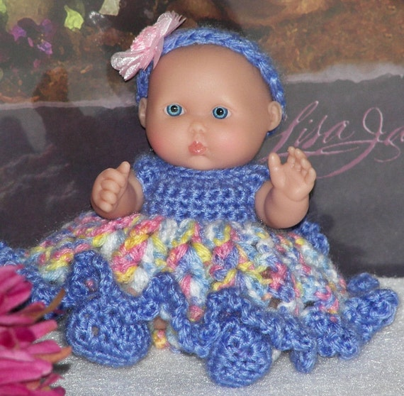 Free Baby Bunting Patterns To Crochet : 5 Inch Berenguer Doll Dress Crochet Pattern Emily