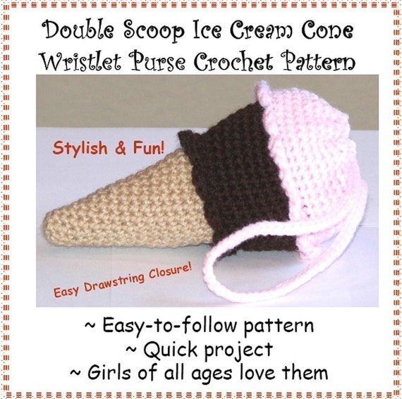 Crochet Wristlet Purse Pattern : Double Scoop Ice Cream Cone Wristlet Purse by erinoliviadesigns