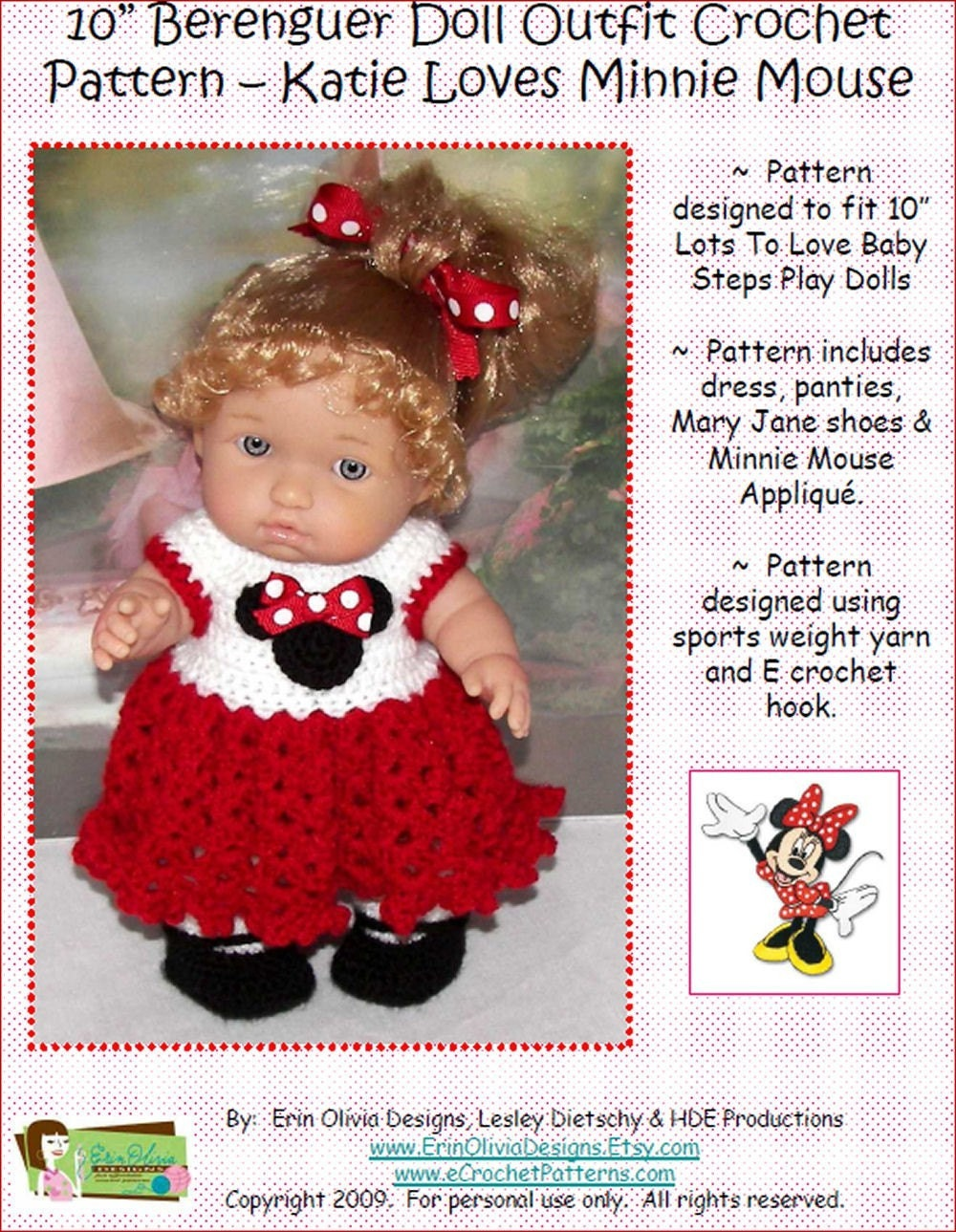 10 Inch Berenguer Lots To Love Baby Steps Doll Outfit Crochet