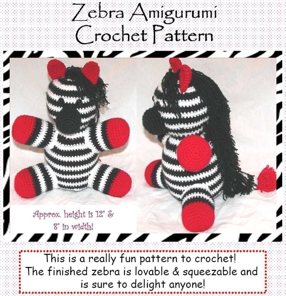 Zebra Pattern Horse Rug: Zebra Amigurumi Crochet Pattern By Erinoliviadesigns On Etsy