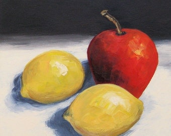 Red Apple and Two Lemons  6 x 6 Original Painting Still Life Painting by Torrie Smiley