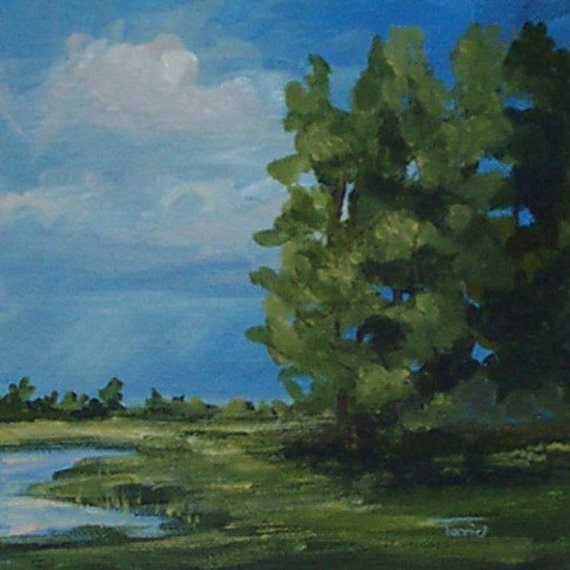 STUDIO SALE -- Low Country Storm  6 x 6 Acrylic on Canvas
