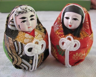 2 Japanese Daruma fabric dolls