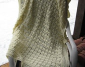 Hand Crocheted Off White Open Work Afghan