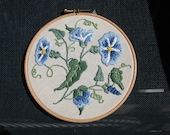 Hand Embroidered Morning Glories Wall Hoop Art