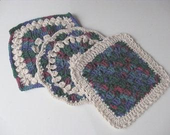 Hand Crocheted Dish Cloths Set of 3
