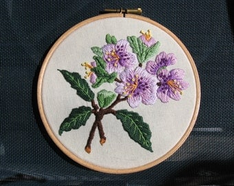 Hand Embroidered Rhododendron Hoop Wall Art