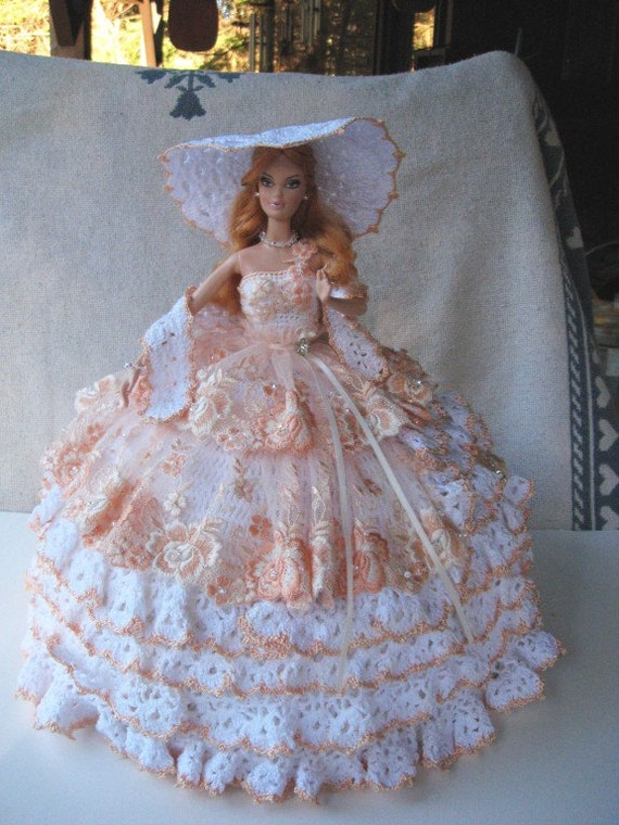SALE OOAK Hand Crocheted Barbie Bed Pillow Doll with Imported Lace and Swarovski Crystals