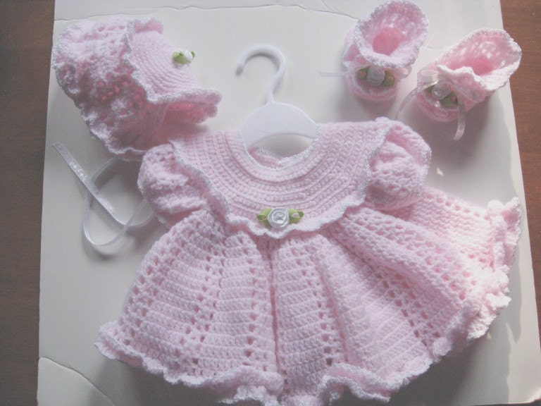 Crocheted Pink Ruffled Baby Dress Bonnet And Booties With