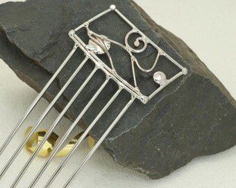 Rectangle Topped Metal Hair Comb