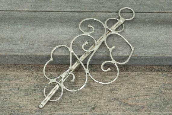 Heart metal hair slide or hair barrette, scarf pin or shawl pin, solid nickel silver