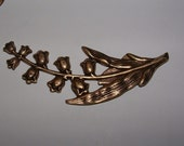 brass ox over brass lily of the valley pendant focal point for necklace or bracelet