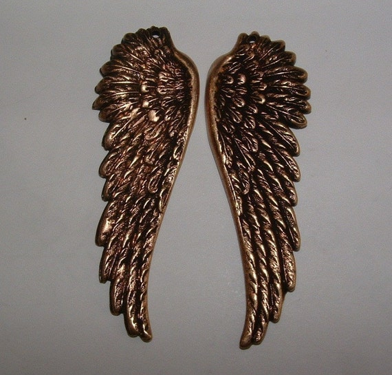 2 brass ox OVER BRASS angel wings charms pendants