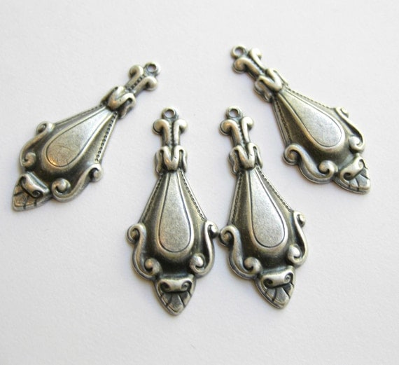 20 spoon drops in silver ox over brass pendants  charms  made in the USA