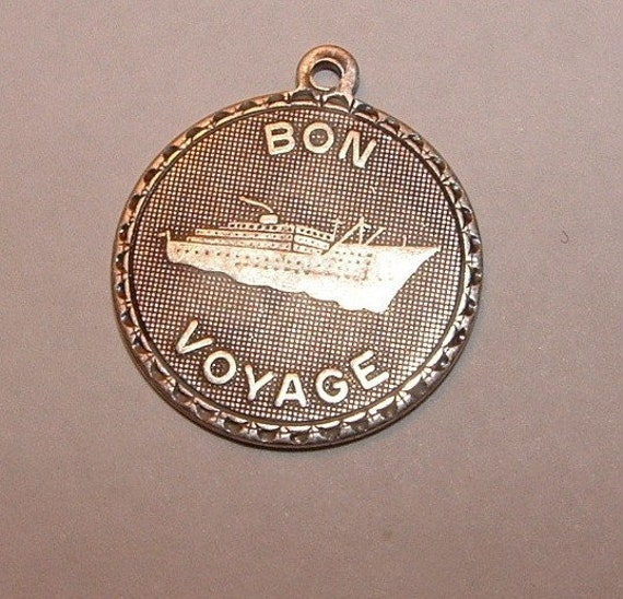 3  sterling silver over brass Bon Voyage charms