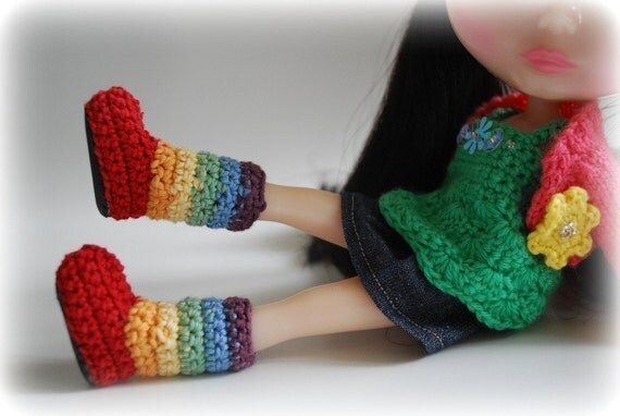 THEY'RE BACK - Rainbow Brite Stripy Fluggs for Blythe