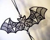 Lace Bat Ornament, freestanding lace