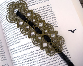 Gopthic, Victorian Embroidered Lace Bookmark