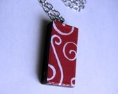 White Swirls Domino Tile Pendant