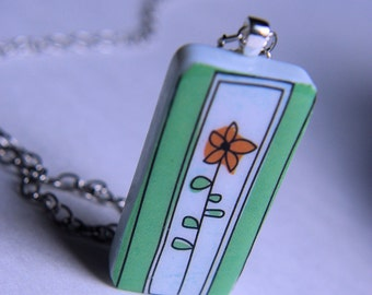 Flower Domino Tile Necklace