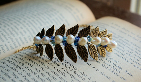 Royal Blue Swarovski and Pearl Brass Branch Bracelet