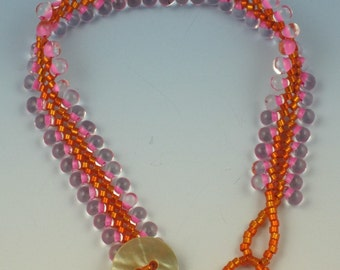 Orange and Pink Herringbone Ribbon Bracelet