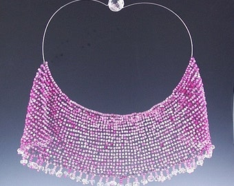 Pink Bead Knitted Necklace