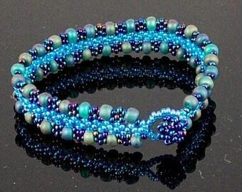 Blue Chevron Chain and Peyote Bracelet