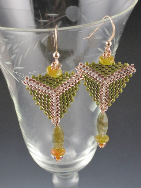 Olive Triangle Earrings