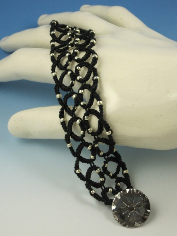 Black and Silver Tatted Bracelet